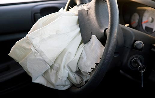 Deployed airbag after car accident