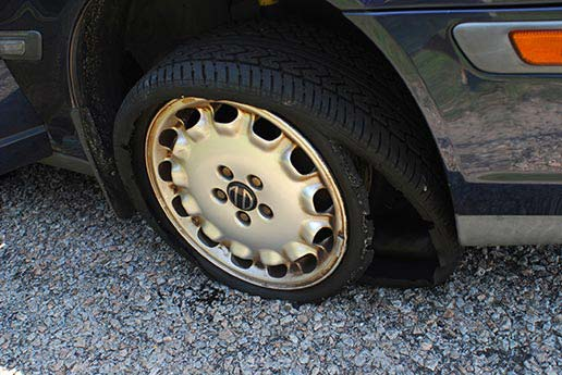 Example of a tire blowout