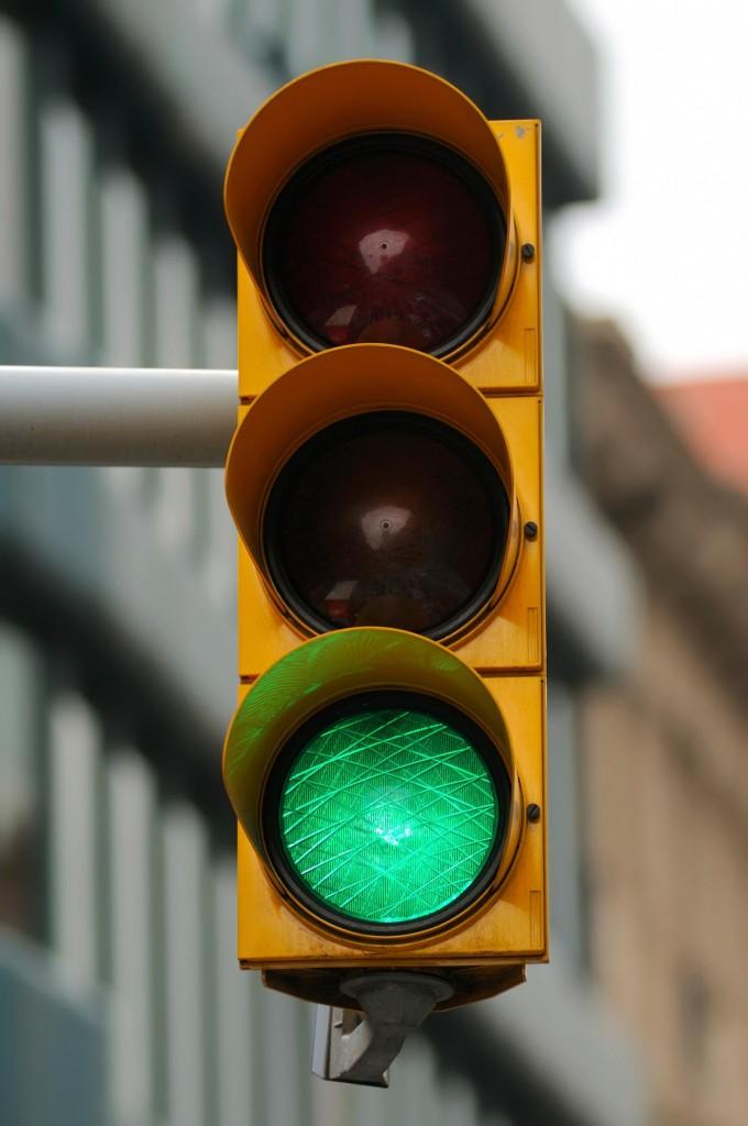 Traffic signal directing traffic to go